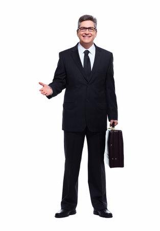 invitando: Hombre de negocios que presenta una copyspace