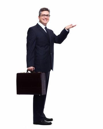 Businessman presenting a copyspace