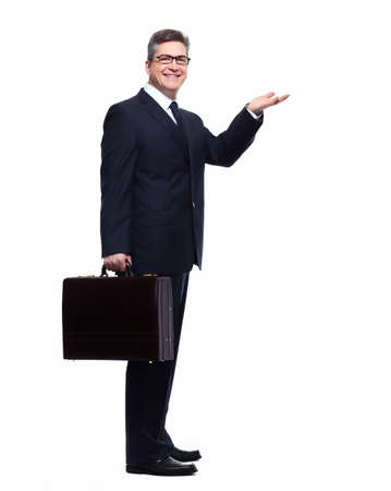 Businessman presenting a copyspace  photo