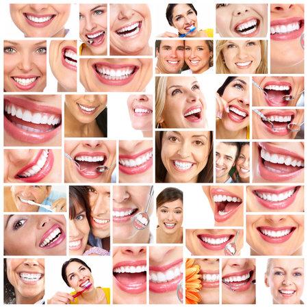 higiene bucal: Sonrisa hermosa de la mujer