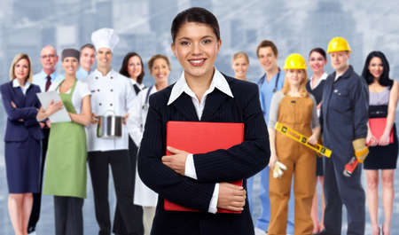 Business woman and group of workers people  Banque d'images