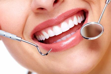 dental background: Beautiful woman smile