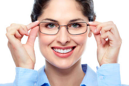 optometry: Business woman with eyeglasses  Stock Photo