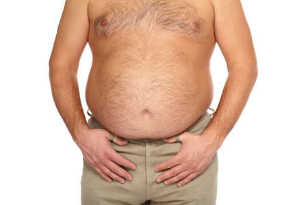 Fat man with a big belly  Stock Photo - 18840979