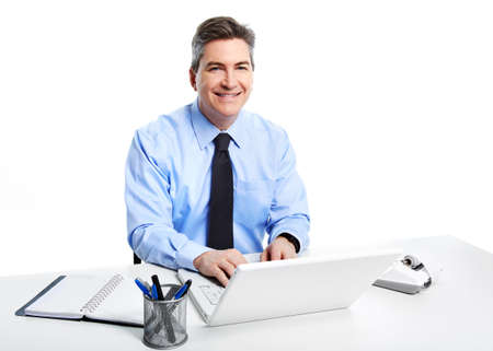 Businessman with laptop computer Stock Photo - 18767717