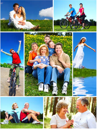 old people group: Happy family collage