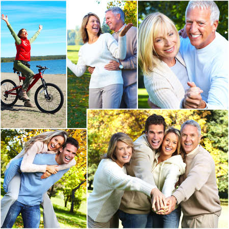 group of young adults: Happy family collage