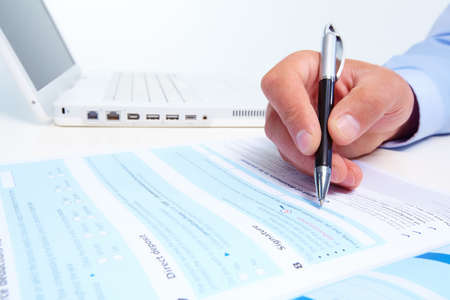 fill: Businessman filling the form  Stock Photo
