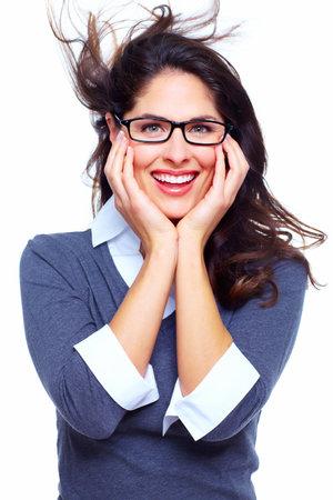cara sorprendida: Feliz mujer de negocios de éxito Foto de archivo