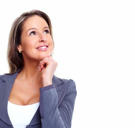 mujer reflexionando: Solución de Pensamiento de la mujer de negocios