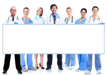 medical study: Group of medical doctors with banner