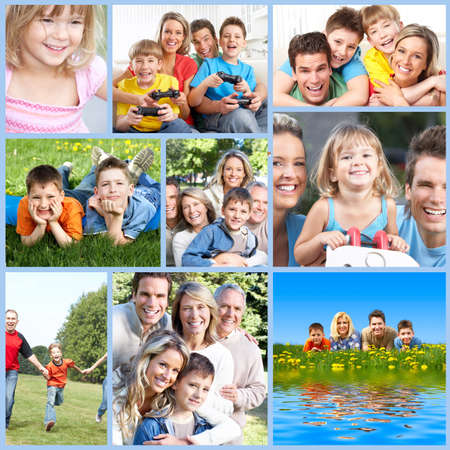 family health: Happy family collage