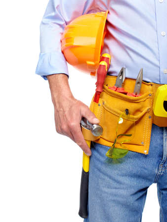Worker with a tool belt Stock Photo - 19354780