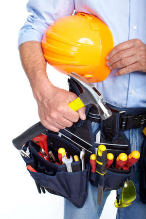 Worker with a tool belt Stock Photo - 19354740