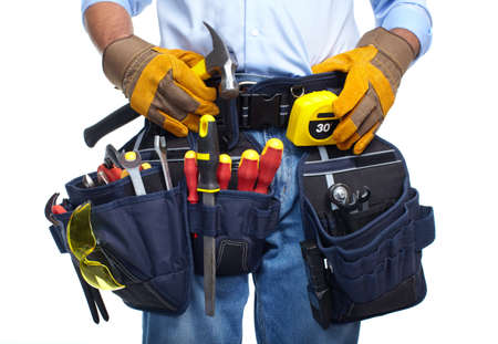 tools belt: Worker with a tool belt