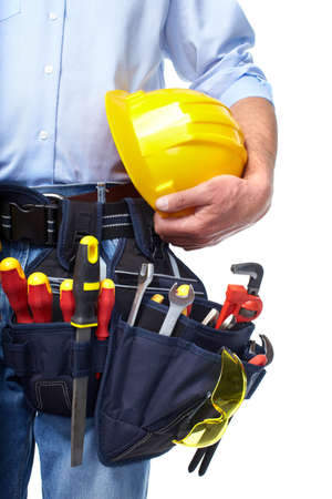 Worker with a tool belt  Construction Stock Photo - 19354772