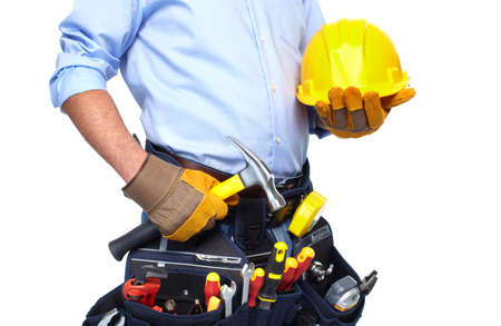 Worker with a tool belt Stock Photo - 19354716