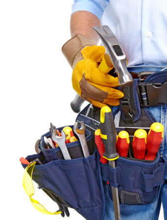 Worker with a tool belt Stock Photo - 19354705
