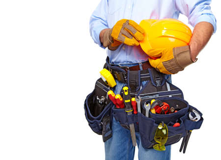Worker with a tool belt  Construction  Stockfoto