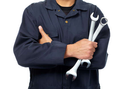 wrench: Hand of auto mechanic with wrench
