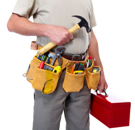 Worker with a tool belt Stock Photo - 19354703