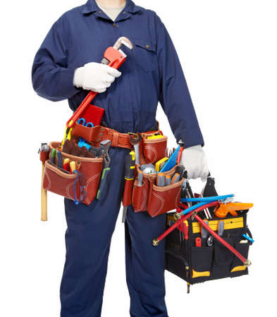 Worker with a tool belt  Stock Photo - 19354702