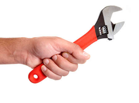 technical service: Hand of auto mechanic with wrench