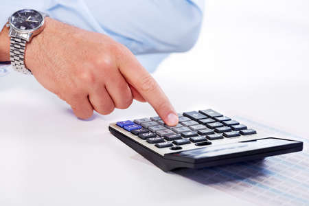 Hand with calculator  Stock Photo - 19354783