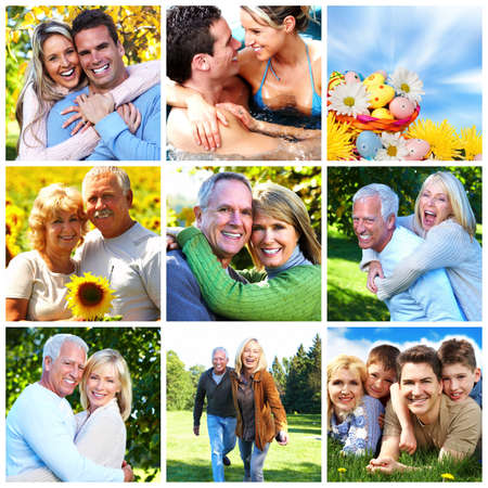 health collage: Happy family collage