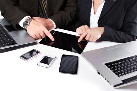 mobile communication: Business people group working with laptop