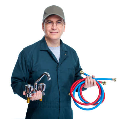 are working: Plumber with faucet  Stock Photo