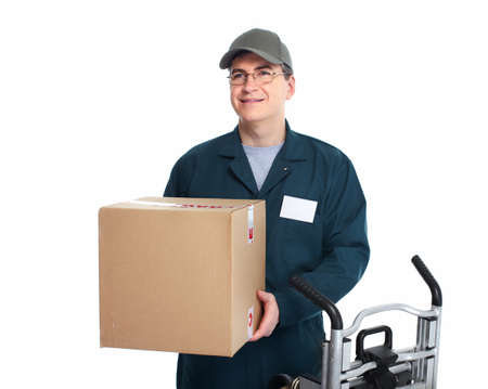 ship parcel: Delivery postman  Stock Photo