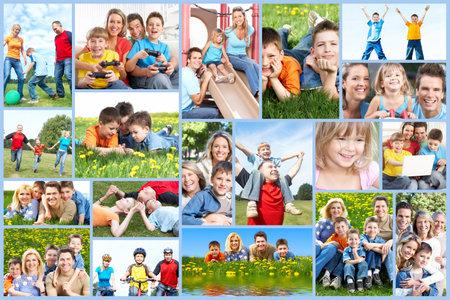 행복한 가족의 콜라주 스톡 콘텐츠