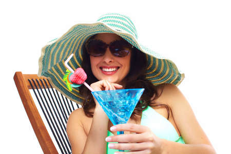 Woman drinking a cocktail Stock Photo - 19989488