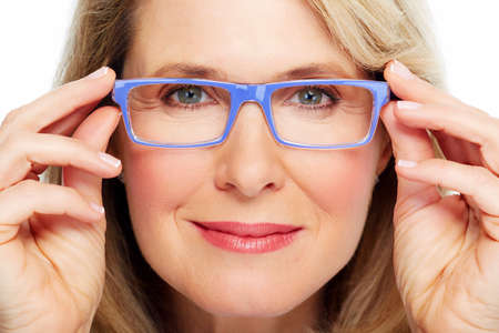 Beautiful senior woman wearing eyeglasses  Vision  Archivio Fotografico
