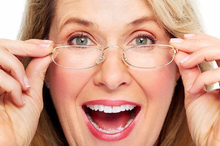 Beautiful senior woman wearing eyeglasses  Vision  Banco de Imagens