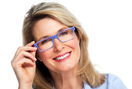 Beautiful senior woman wearing eyeglasses  Vision  Stock Photo