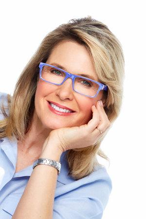 Beautiful senior woman wearing eyeglasses