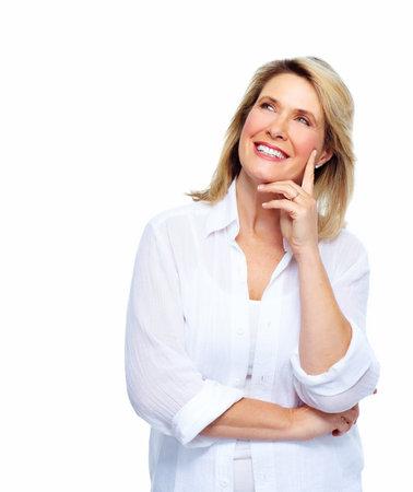 Mooie thinking vrouw portret Stockfoto