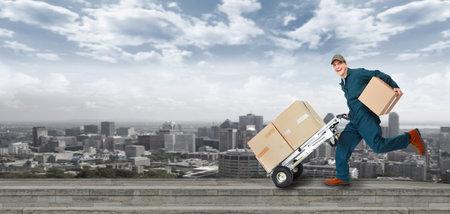 Hardlopen Levering postbode Stockfoto