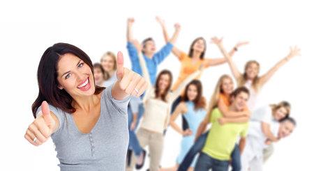 젊은 행복 사람들의 그룹 초상화