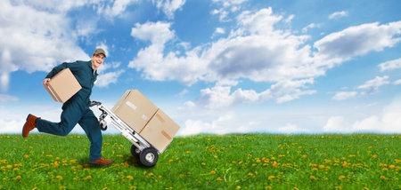 Running Delivery postman 版權商用圖片 - 21411264