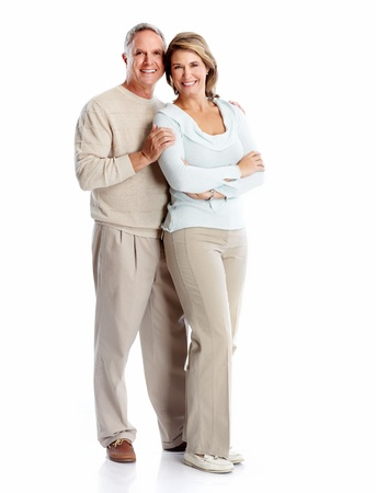 Senior couple portrait. Isolated on white background. Stock Photo