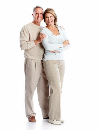 Senior pareja retrato. Aislado sobre fondo blanco. Foto de archivo - 22217340