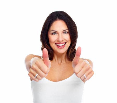 Jonge gelukkige vrouw. Geïsoleerd op een witte achtergrond.
