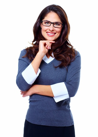 Portrait of young business woman isolated on white background.