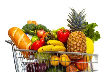 전체 쇼핑 식료품 쇼핑. 흰색 배경에 고립. 스톡 콘텐츠