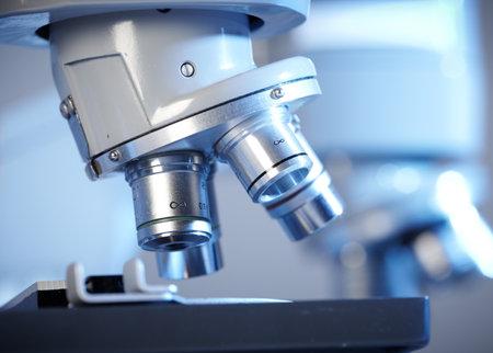 研究室の顕微鏡。科学・医療の研究の背景。