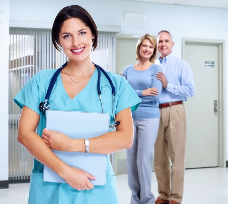 Smiling family doctor woman with stethoscope  Health care