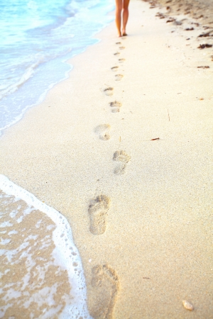Steps on the beach. Tropical resort.